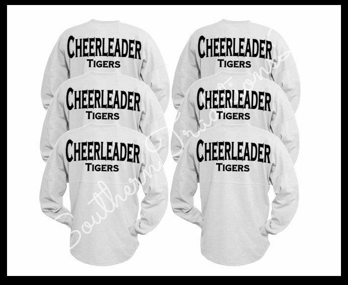 Cheerleader Spirit Jersey, Custom Cheer Squad, Wedding Oversized Spirit Jersey by SouthernTraditions2 on Etsy