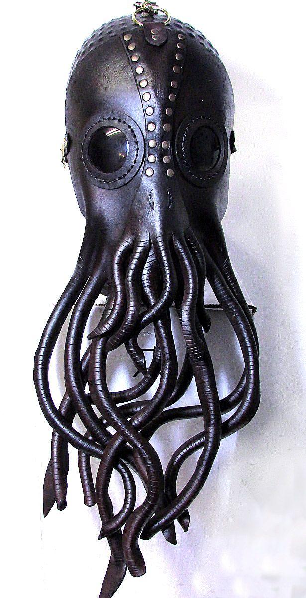 Steampunk Cthulhu máscara máscara de cuero náutico calamar
