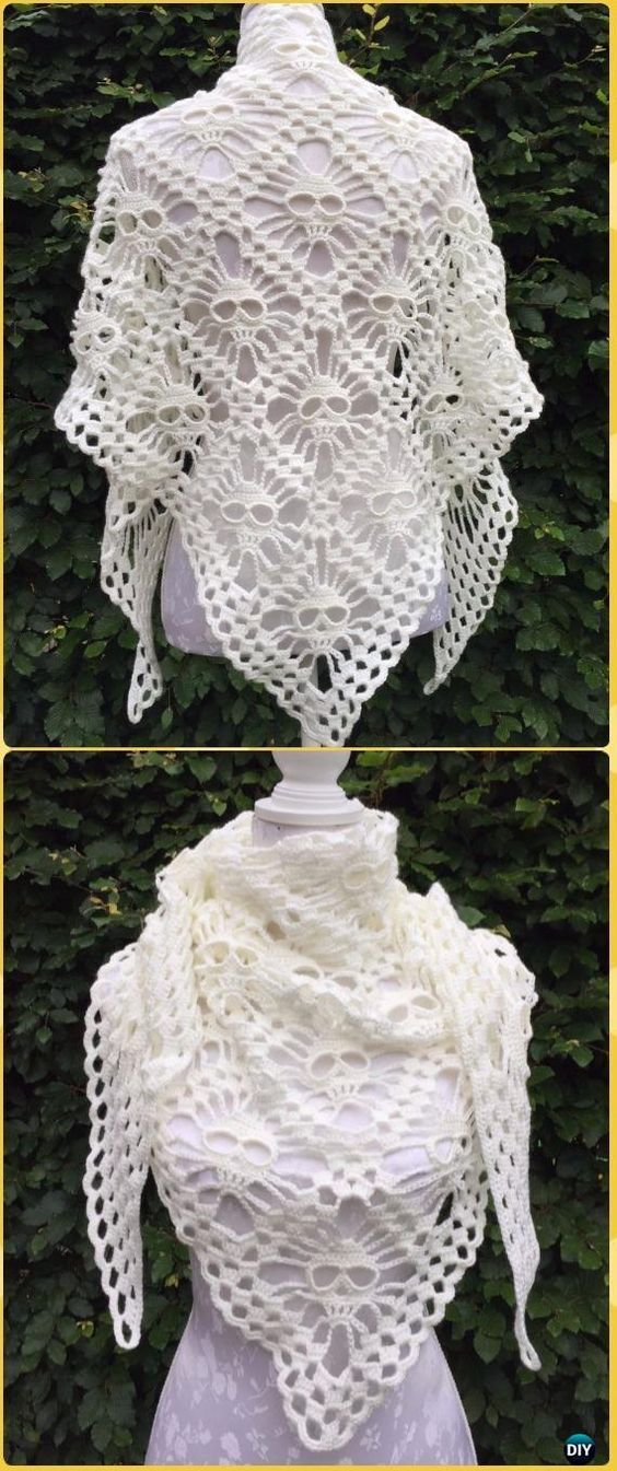 Crochet Magic Block Skull Shawl Free Pattern - Crochet Women Shawl Sweater Outwear Free Patterns