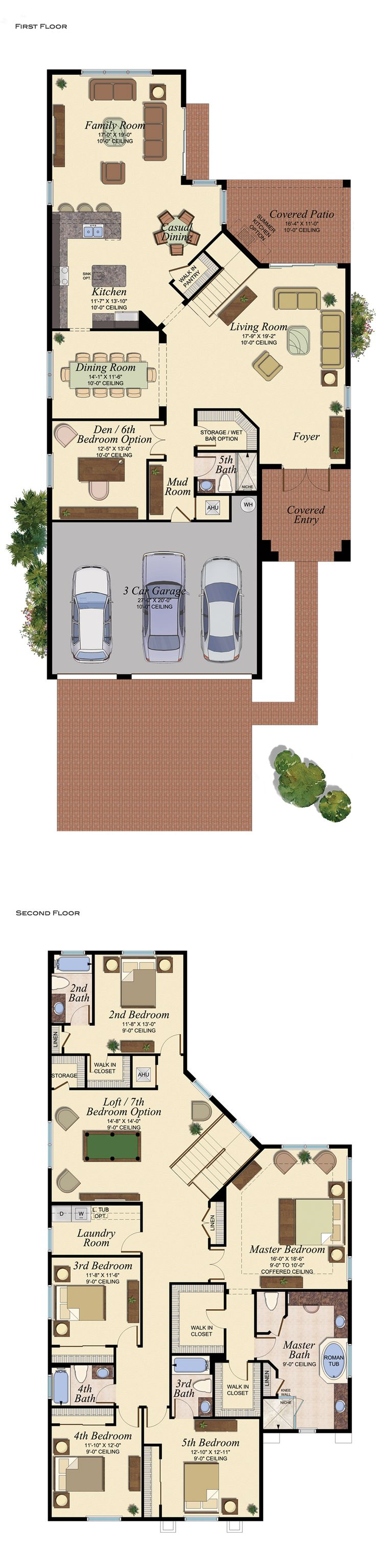 5 bed+, 5 bath, den // love this layout