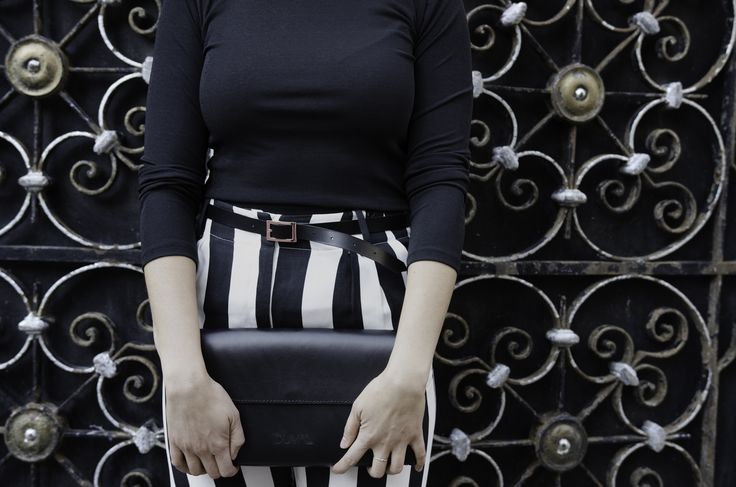 Striped Pants with Belt and Minimalist Meraki Clutch Handmade Leather Purse - DUVAL Handbags and Accessories - Made in Canada