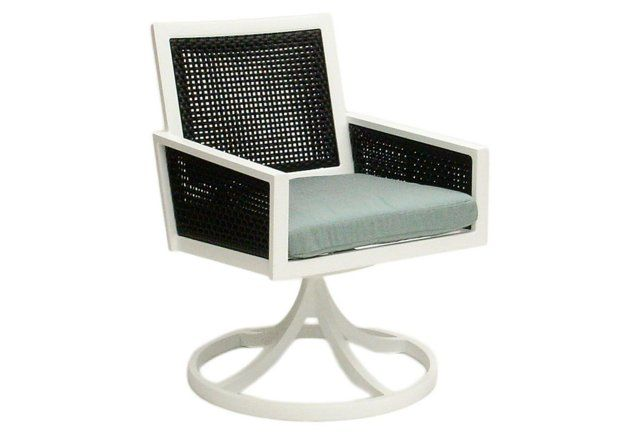 Woven Swivel Dining Chair, Spa Blue