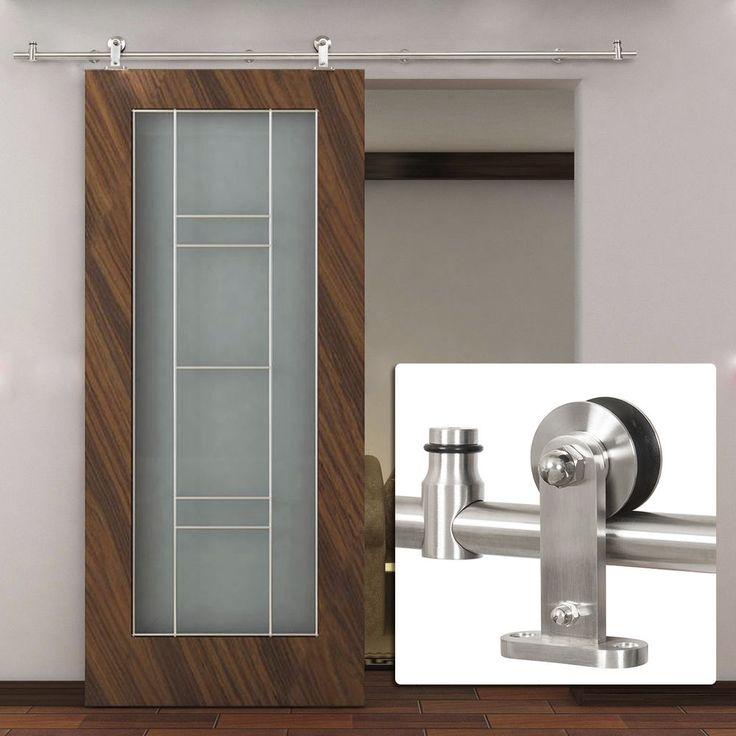 6 6 ft country stainless steel sliding barn wood door for Antique sliding barn door hardware