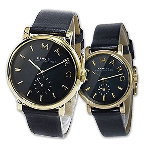 MARC BY MARC JACOBS(マークバイマークジェイコブス)ペアウォッチ 2本セット 腕時計 ゴールド×ブラック&本革レザーベルトのペア- 時計 BAKER ベイカー MBM1269 MBM1273 [並行輸入品]