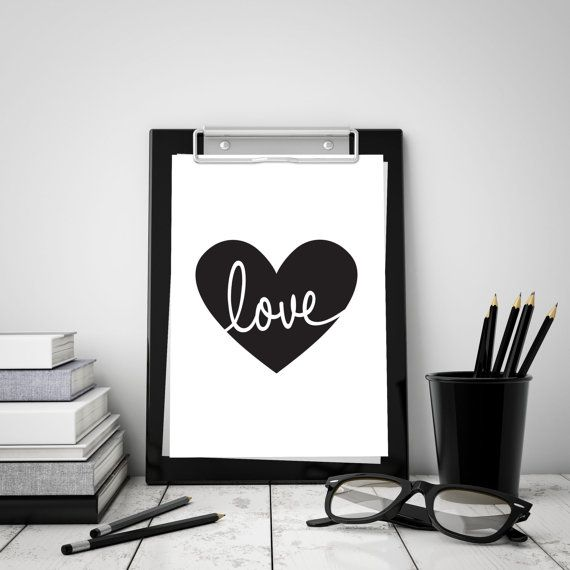 Love Heart Digital Download  Monochrome A4 Print by StaceyLeeLoves  Instantly download, print & frame to display around the home or office!