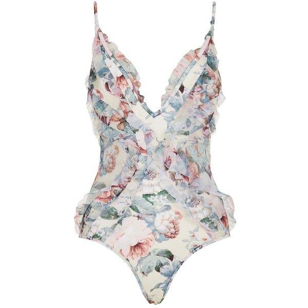 Zimmermann Jasper Ruffle Swimsuit ($470) ❤ liked on Polyvore featuring swimwear, one-piece swimsuits, ruffle bathing suit, ruffle one-piece swimsuits, plunge neck one piece swimsuit, flounce swimsuit and low back one piece swimsuit