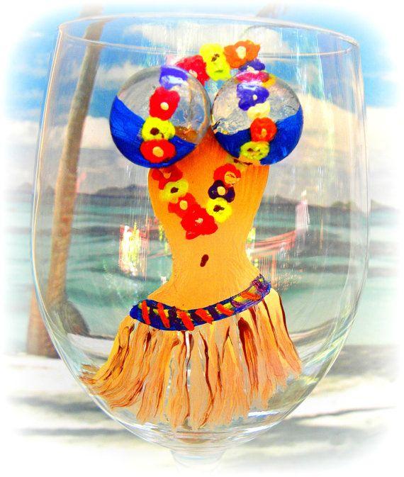 Wine Glass Hula Girl Hawaiian Dancer Tropical Wine Glass