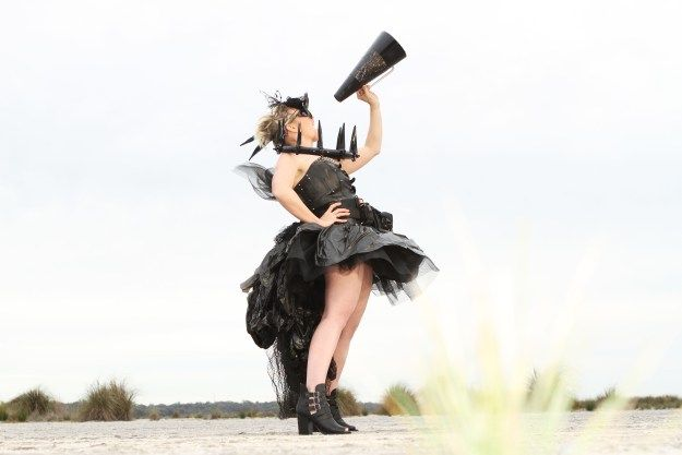 The Junk Fairy. Handmade creation from things around the farm. Dowerin Field Days competition Entry 2014. #fashion #fun #recycle #upcycle #farmart #wearableart #blackdress #megaphone #roar