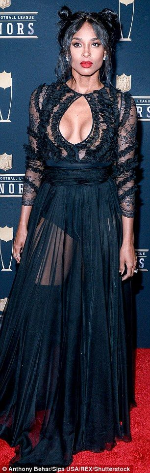 Ciara and Lea Michele sizzle in busty black at NFL Honors | Daily Mail Online
