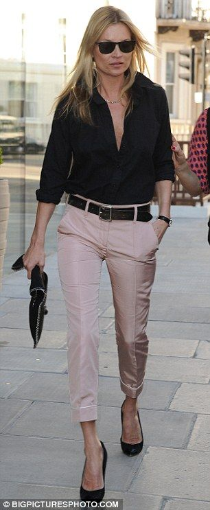 Kate Moss steps out in a pair of pretty pastel trousers for lunch date | Mail Online