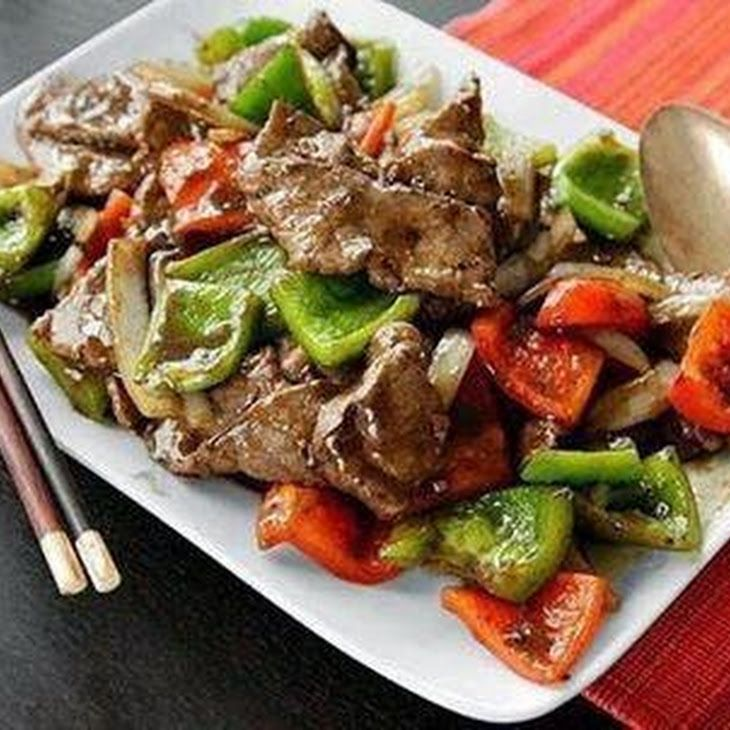 Quick & Healthy Delicious Protein Packed Pepper Steak Recipe Main Dishes with boneless beef sirloin steak, olive oil, red pepper, onions, garlic powder, worcestershire sauce, cooked rice