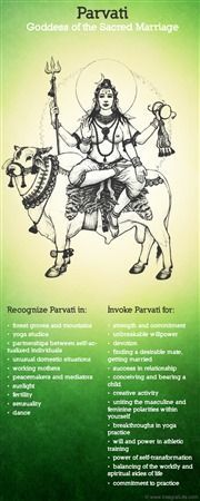 I'd just like to mention how Parvati, the Hindu goddess of marriage, is often depicted riding a cow which is the symbolic animal of Hera, the Greek goddess of marriage.