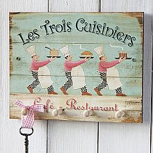 Three Cooks Key/Tea Towel Holder