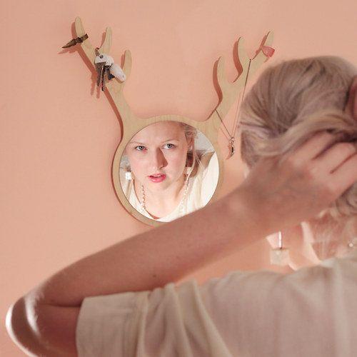 DEER FRIEND mirror by KATLA / roe-deer by Katladesign on Etsy
