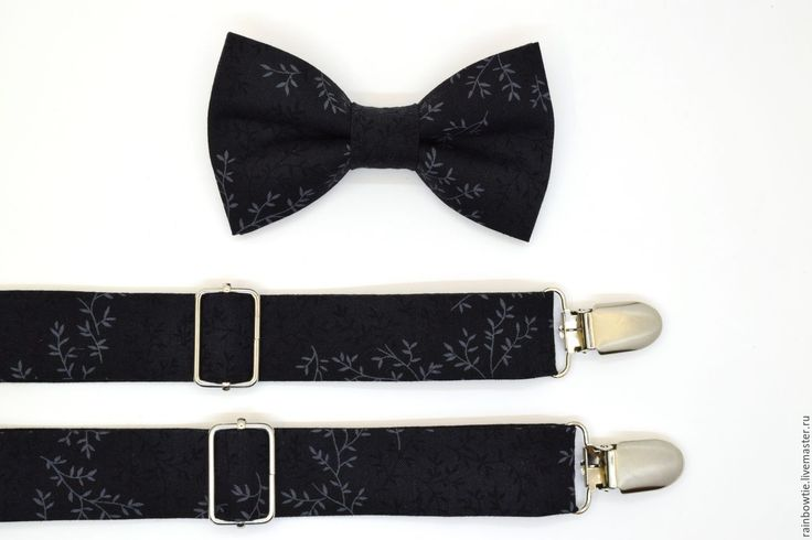 Купить Комплект бабочка и подтяжки черный с веточками - черный, цветочный, комплект аксессуаров, свадьба