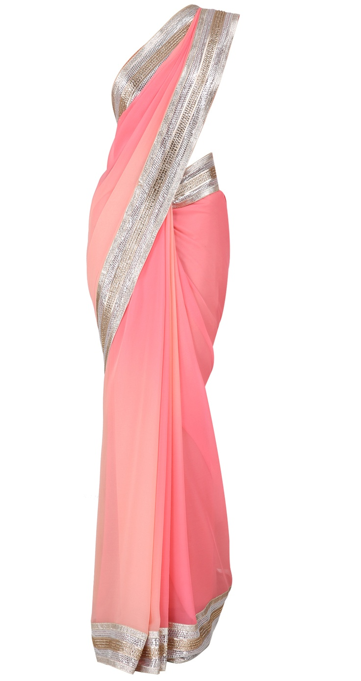 Pink chiffon sari with gota sequin border and pink blouse by SUNEET VARMA. Shop at https://www.perniaspopupshop.com/valentines-special/suneet-varma