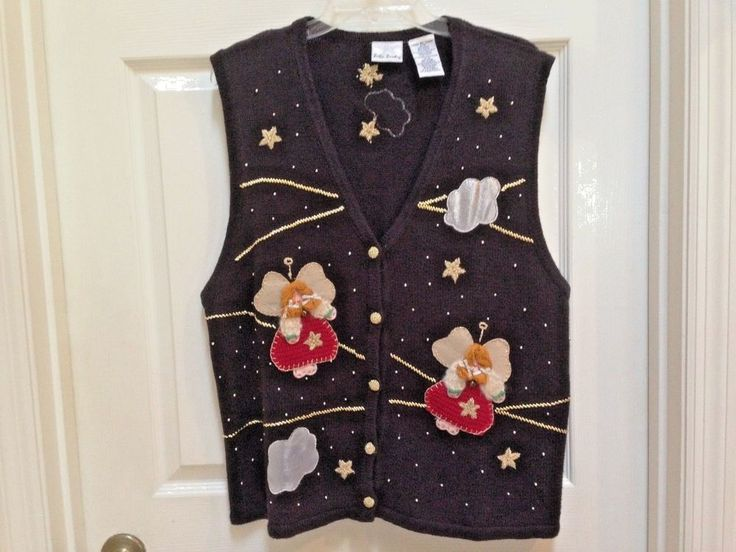 Christmas Sweater Vest Black Size XL with Angels and Stars Bobbie Brooks 16/18 #BobbieBrooks #VestSleeveless #Christmas