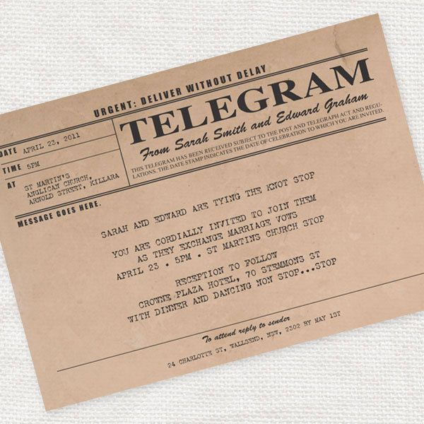 vintage telegram invitation - printable file - antique rustic wedding invitation 1920s 1930s. $30.00, via Etsy.