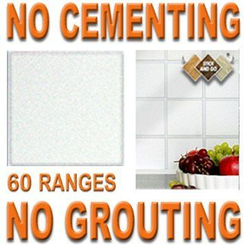 WHITE: Box of 18 tiles 4x4 SOLID PEEL & STICK ON TILES apply over tiles or onto the wall ! by STICK AND GO TILES. $19.99. No Grouting. Covers 2 Sq.Ft. (0.2) per box. 18 tiles per box. No Cementing. STICK AND GO TILES are self adhesive wall tiles that look and feel just like ceramic tiles - but there is NO CEMENTING & NO GROUTING required ! Stick and Go tiles aren't just for walls, they can be used on any flat, clean surface and are perfect for tiling any area quickly. The...