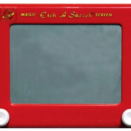 """Etch a Sketch. Now that we've entered the age of iPads, it's kind of hard not to be amused by this 1950s toy calling itself """"magic."""" Still, it's pretty amazing the artwork that can be created using just a couple of dials and a bunch of gray lines!"""