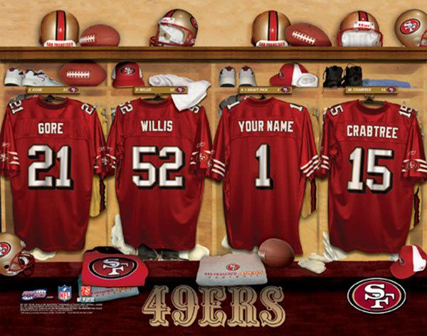 San Francisco 49ers NFL Football - Personalized Locker Room Print / Picture. Have you or someone you know ever dreamed about playing next to your favorite San Francisco 49ers players. You or someone you know can be right there in the locker room with San Francisco 49ers players! Optional framing with mat is available. Perfect for gifts, rec room, man cave, office, child's room, etc.  (http://www.oakhousesportsprints.com/san-francisco-49ers-locker-room-print/)