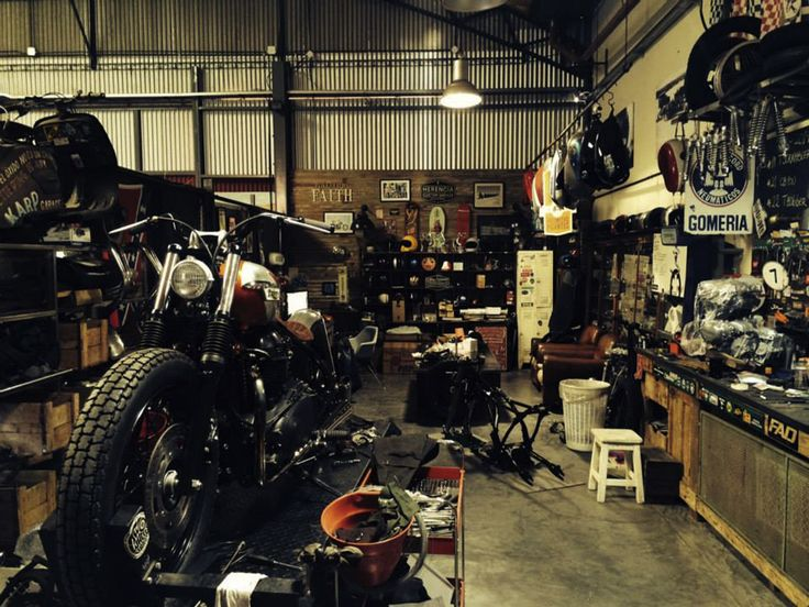 179 best images about my rides triumph 1st mass for Custom garage workshop