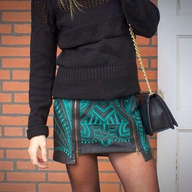 Embroidered mini skirts.