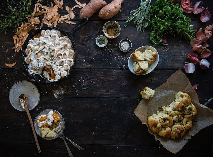 Maple-brown butter sweet potato casserole + thyme marshmallows // Thanksgiving stuffing dinner rolls.