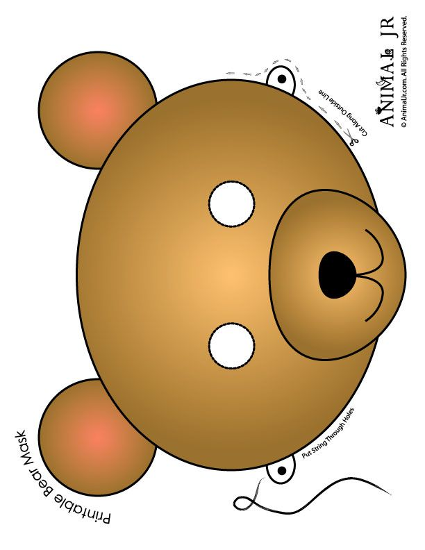 Printable Animal Masks: Bear Mask Brown Bear Mask to Print – Craft Jr.