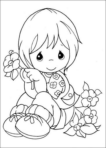 Precious Moments children's drawings to color or Redwork them!