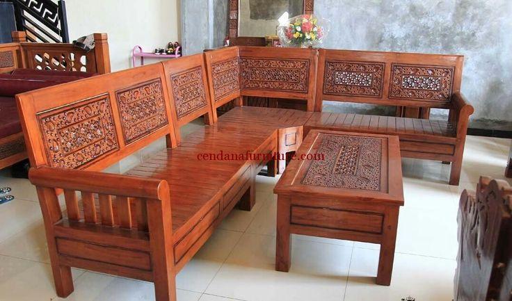 Set Kursi Tamu Sudut Gelung terbuat dari kayu jati yang kami sempurnakan dengan finishing coklat sebagai produk terbaru dari mebel jepara