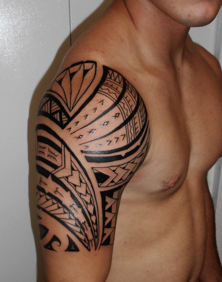 shoulder tattoos   Arm Sleeve Tattoo for Men of Maori American style on Shoulder, Arm ...