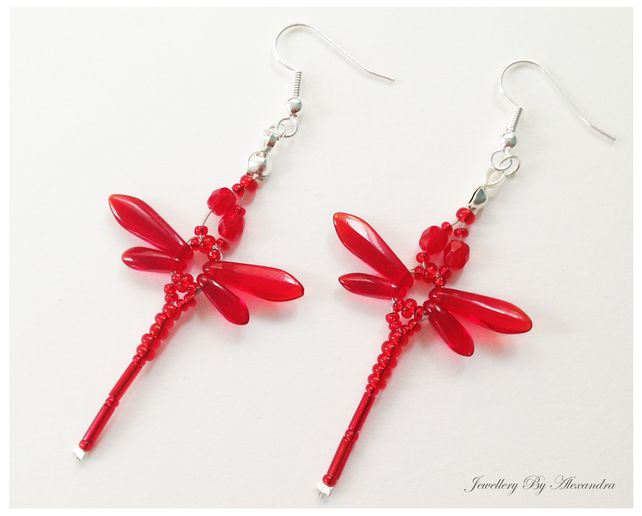 Beaded Dragonflies Earrings – Red or Ruby £10.00