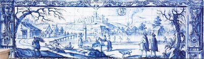 Painel de azulejos encimado pela designação latina do mês e pelo respectivo Signo de Zodíaco, encerrado num círculo. Um cavaleiro e dois peões bem agasalhados assistem a patinagem no gelo e ao deslocamento de um trenó. Simultaneamente um camponês dirige-se para a sua casa, carregando às costas um feixe de lenha. Sala 106 da Universidade de Évora, Colégio do Espírito Santo, inaugurado em 1553.