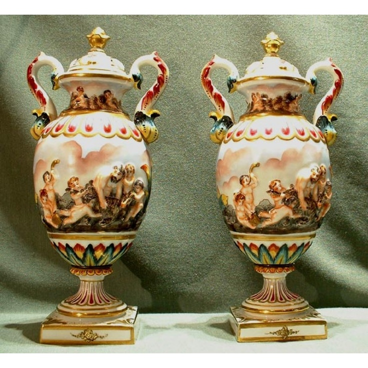 Sold Pair Of Fine Capo Di Monte Porcelain Vases 19th