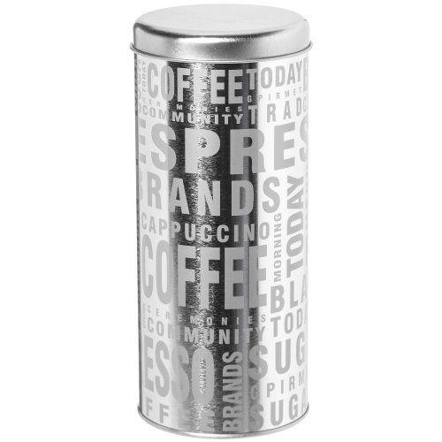 Promobo -Boite à Capsules Dosette Tassimo Senseo Mot Coffee Argenté: Dimension : 9cm de diamètre pour 18cm de hauteur. Matière : Métal.…