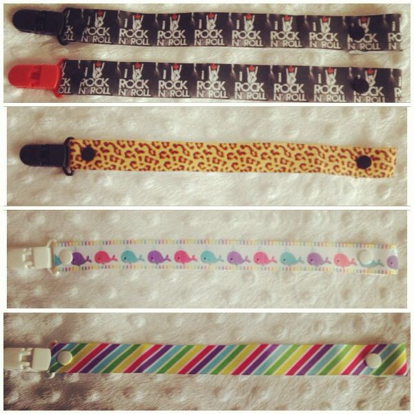 Some of the new dummy clip designs. Made with plastic clip not metal so they won't rust. Recently I discovered they can be put in the cutlery basket of your dishwasher. They come up sparkling! (Just make sure they are pushed right down so they don't fly out!) Go to www.facebook.com/littlemisslolas to see more!