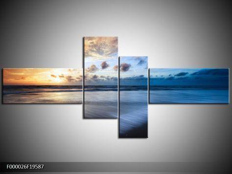 Foto canvas schilderij Zee | Kleur: Blauw, Geel, Wit | F000026