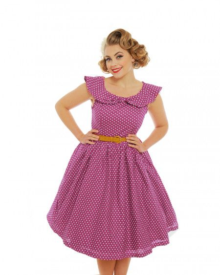 'Hetty' Pink Polka Dot Print Swing Dress