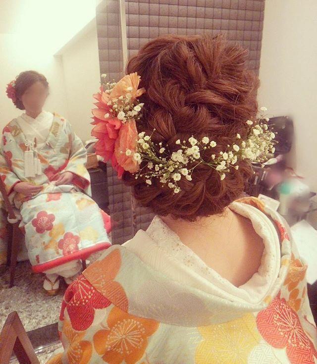 お色直しは和装で♪ #ヘアアレンジ #ヘアセット#ヘアスタイル#ヘアメイク#ヘア#色打ち掛け#着物#着物ヘア #和装ヘア#和装#かすみ草 #kimono#weddinghair #wedding #hairarrange#hair#hairset #プレ花嫁#結婚準備#花嫁準備#結婚式#ブライダルヘア
