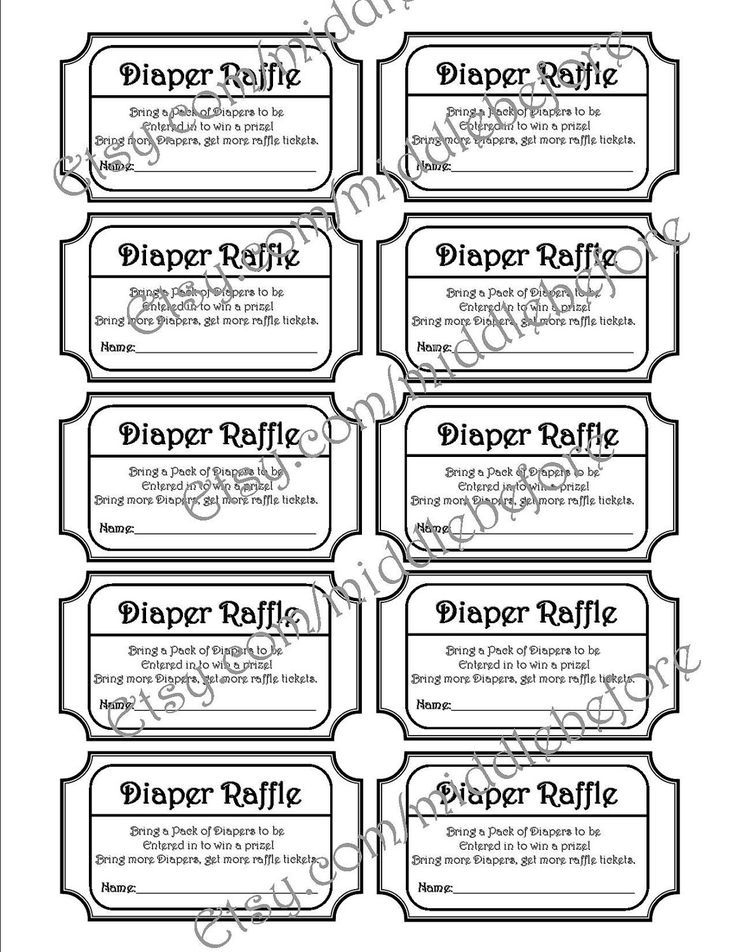 Black U0026 White Printable Baby Shower Diaper Raffle Ticket. Via Etsy.