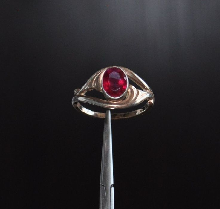 SOVIET ERA ANTIQUE STERLING SILVER  BEAUTIFUL RING  GOLD PLATED 585 (14k) WITH RED RUBY? stone size approx.: 9x6 mm. CONDITION LOOK AT PHOTO. (.875 marked) you buy what the picture US SIZE:  8   weight approx.: 2.96 gr.