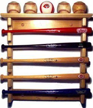 Mini Souvenir Baseball Bat Horizontal Rack With Ball Shelf
