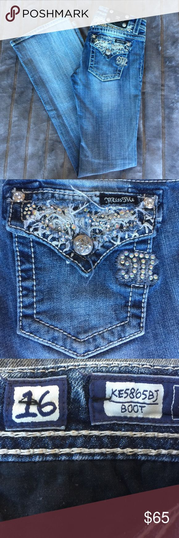 NEW GIRLS MISS ME BOOTCUT JEAN NEW GIRLS MISS ME BOOTCUT JEAN. SIZE 16. NEVER WORN (too long for me). **SMOKE FREE HOME** Miss Me Jeans Boot Cut