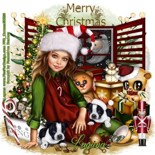 Carmen designs: Christmas Elf Girl with Boston Terrier Puppy