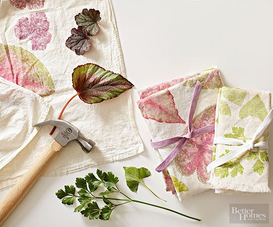 Use nature's amazing color palette to create beautiful dyes from plants. Tuck leaves between purchased dish towels and tap firmly with a hammer to make twin impressions. Repeat, leaf by leaf, until you've achieved your desired design. Finish your creation by ironing the towels on low to minimize fading.