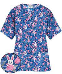 UA Easter Delight Royal Print Scrub Top