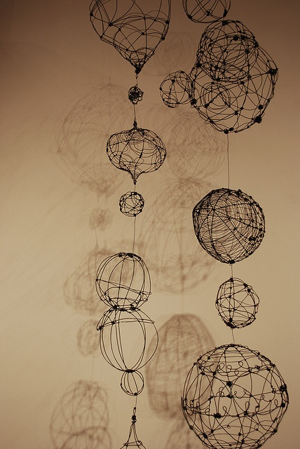 Hanging Wire Orbs & Pods. 2009, Annealed steel wire forms by Barbara…