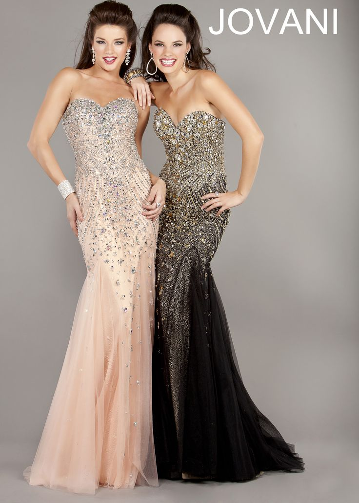 New 2013 prom dresses Jovani 6837 strapless pink and black mermaid gown prom dresses available now at RissyRoos.com.