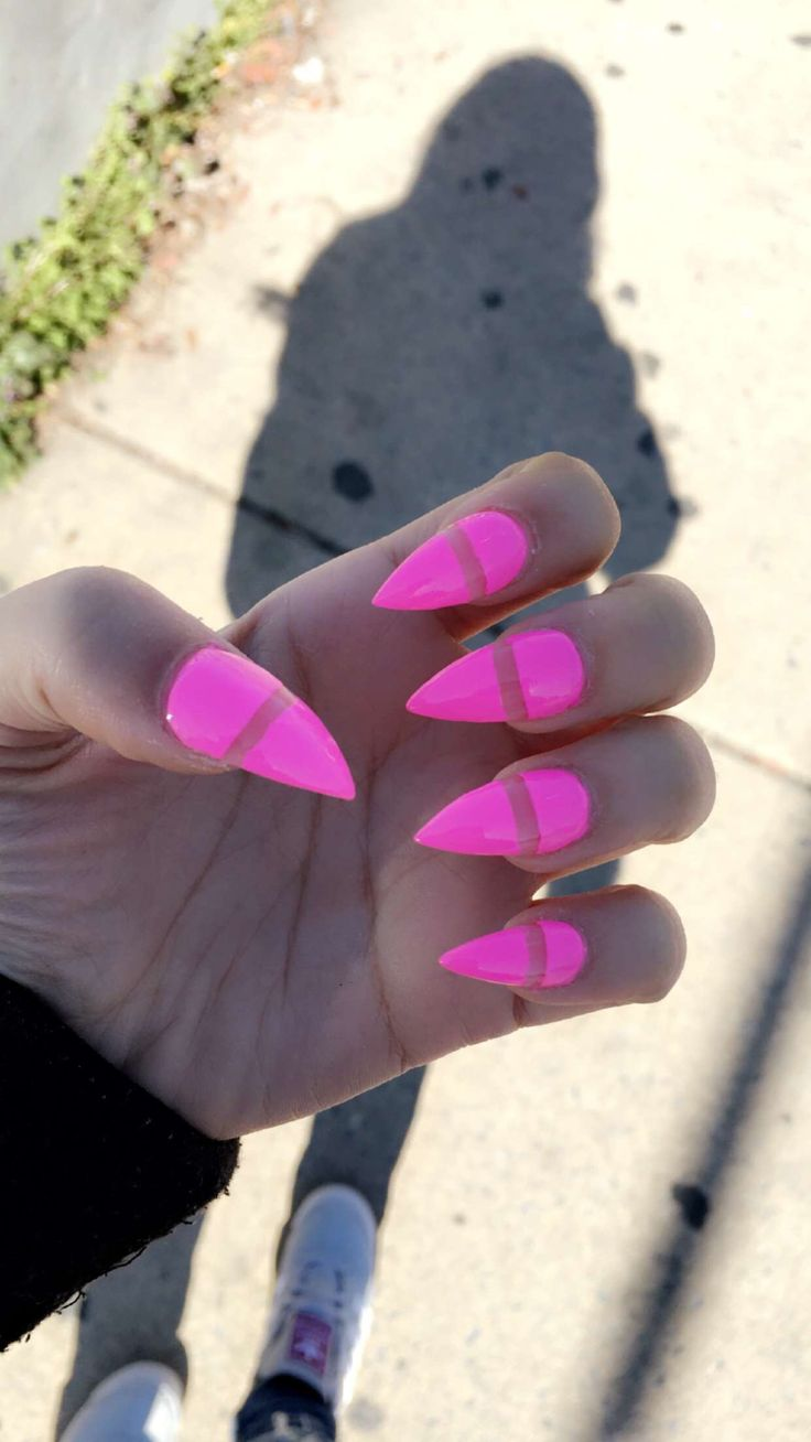 Stiletto pointy bright pink negative space acrylic nails